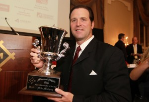 St. Louis Cardinals manager Mike Matheny displays his trophy for being named Missouri Athletic Club's Sports Personality of the Year, during ceremonies in St. Louis on December 16, 2015. Matheny became the first manager in history to lead his team to the playoffs in each of his first four seasons.  Photo by Bill Greenblatt/UPI