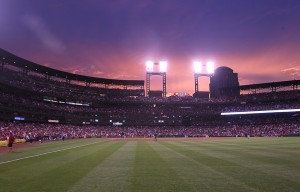 The sky begins to turn colors during sunset as the Chicago Cubs play the St. Louis Cardinals at Busch Stadium in St. Louis on May 24, 2016. Photo by Bill Greenblatt/UPI