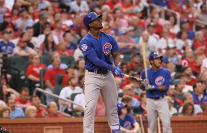 Chicago Cubs Jorge Soler stares down his two run home run in the fifth inning against the St. Louis Cardinals at Busch Stadium in St. Louis on May 24, 2016. Photo by Bill Greenblatt/UPI