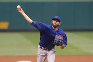 Chicago Cubs starting pitcher Jason Hammel delivers a pitch to the St. Louis Cardinals in the third inning at Busch Stadium in St. Louis on May 24, 2016. Photo by Bill Greenblatt/UPI